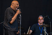 Geno Washington and the Ram Jam Band play the floating stage - Henley Festival is a boutique event over five days celebrating the best of UK & international music and arts with a programme from pop to world music, classical to jazz, blues to jazz musicians, where art, comedy and gastronomy share equal billing with music. Henley on Thames 05 July 2017