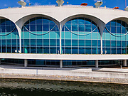 Aerial photograph of Madison, Wisconsin, USA. Monona Terrace Convention Center.