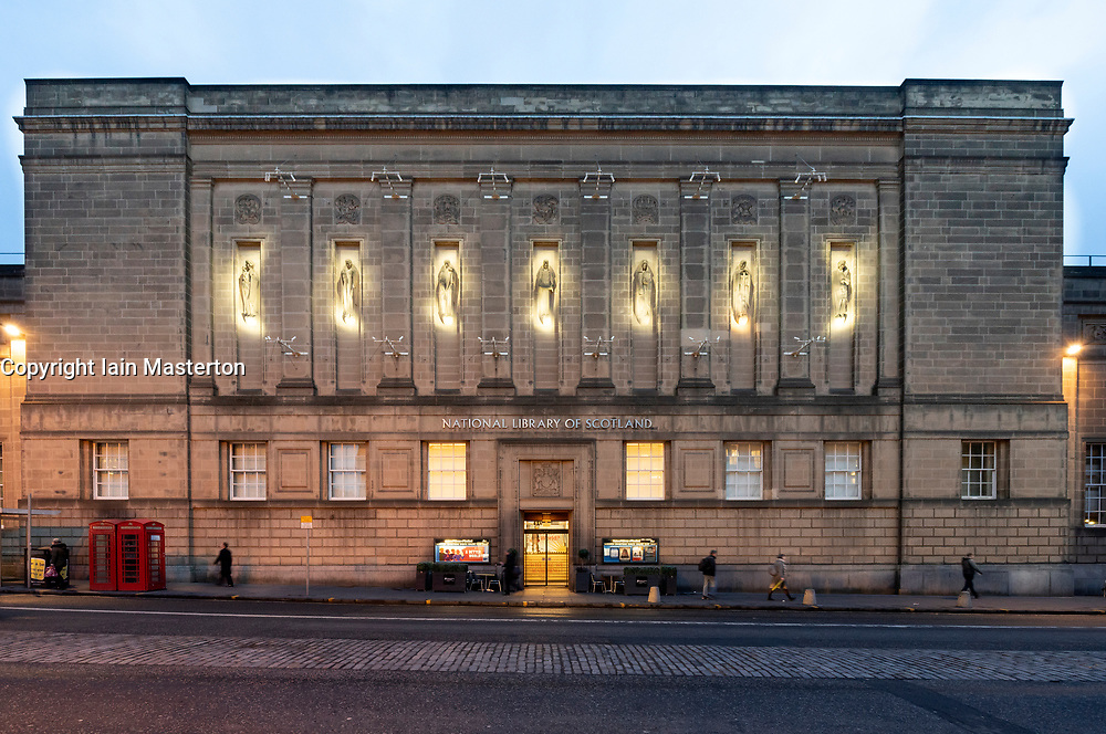 Exterior view at night of National Library of Scotland in Edinburgh Old Town, Scotland , UK