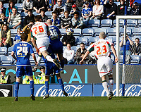 Photo: Steve Bond/Richard Lane Photography. Leicester City v Carlisle United. Coca Cola League One. 04/04/2009.  Scott Dobie (26) rises highest to give Carlisle a late equaliser