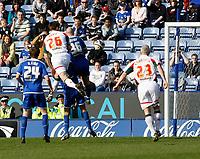 Photo: Steve Bond/Richard Lane Photography. Leicester City v Carlisle United. Coca Cola League One. 04/04/2009.  Scott Dobie (26) rises highest to give Carlisle a late equaliser