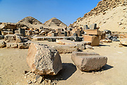 Looking at Pyramids of Niuserre and Neferirkare from the ruined causeway of the Pyramid of Sahure in Abusir