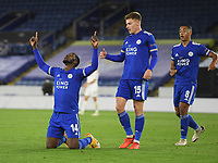 Football - 2020 / 2021 Europa League - Group F - Leicester City vs Zorya Luhansk - King Power Stadium<br /> <br /> Leicester City's Kelechi Iheanacho celebrates scoring his side's third goal .<br /> <br /> COLORSPORT/ASHLEY WESTERN