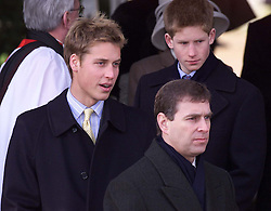 Royals in Sandringham.The Royal Family on Christmas Day at church in Sandringham, Norfolk. Prince Harry, Prince Andrew and Prince William arriving at church for the Christmas Day service 2000. Photo by Andrew Parsons/i-Images.
