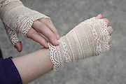 old style fashionable lace gloves used by Japanese women to protect their skin against sun