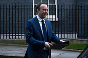 Health Secretary Matt Hancock leaving a cabinet meeting in Downing Street on January 21st 2020 in London, United Kingdom.