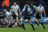 Cardiff Blues replacement scrum half Tomos Williams clears the ball from the base of the ruck. Guinness Pro12 rugby match, Cardiff Blues v Leinster Rugby at the Cardiff Arms Park in Cardiff, South Wales on Saturday 20th Feb 2016.<br /> pic by Carl Robertson, Andrew Orchard sports photography.