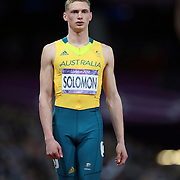 Steven Solomon, Australia, before the start of the Men's 400m Final at the Olympic Stadium, Olympic Park, during the London 2012 Olympic games. London, UK. 6th August 2012. Photo Tim Clayton