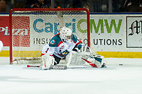 KELOWNA, CANADA - JANUARY 25:  James Porter #1 of the Kelowna Rockets makes a first period save against the Victoria Royals on January 25, 2019 at Prospera Place in Kelowna, British Columbia, Canada.  (Photo by Marissa Baecker/Shoot the Breeze)