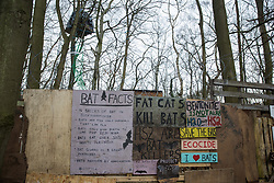 Signs relating to bats are pictured on the exterior of Wendover Active Resistance Camp on 20th February 2021 in Wendover, United Kingdom. Activists opposed to HS2 continue to occupy a series of such wildlife protection camps along the Phase One route of the HS2 high-speed rail link between London and Birmingham.