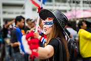 26 NOVEMBER 2013 - BANGKOK, THAILAND:  A Thai anti-government protestor wearing a carnival style mask in Thai national colors in the courtyard of the Ministry of Finance in Bangkok. Protestors opposed to the government of Thai Prime Minister Yingluck Shinawatra spread out through Bangkok this week. Protestors have taken over the Ministry of Finance, Ministry of Sports and Tourism, Ministry of the Interior and other smaller ministries. The protestors are demanding the Prime Minister resign, the Prime Minister said she will not step down. This is the worst political turmoil in Thailand since 2010 when 90 civilians were killed in an army crackdown against Red Shirt protestors. The Pheu Thai party, supported by the Red Shirts, won the 2011 election and now govern. The protestors demanding the Prime Minister step down are related to the Yellow Shirt protestors that closed airports in Thailand in 2008.    PHOTO BY JACK KURTZ