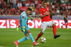 August 9, 2017 - Lisbon, Lisbon, Portugal - Bragas goalkeeper Matheus Magalhaes from Brazil (L) and Benficas forward Haris Seferovic from Switzerland (R) during the Premier League 2017/18 match between SL Benfica v SC Braga, at Luz Stadium in Lisbon on August 9, 2017. (Credit Image: © Dpi/NurPhoto via ZUMA Press)