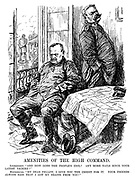 """Amenities of the High Command. Ludendorff. """"And how goes the people's idol? Any more nails since your latest victory?"""" Hindenburg. """"My dear fellow, I give you the credit for it. Your friends always said that I got my brains from you!"""" (general Ludendorff and field marshal Hindenburg look dejected with a table of maps having thrown off their caps while outside a statue of Hindenburg is covered in nails during WW1)"""
