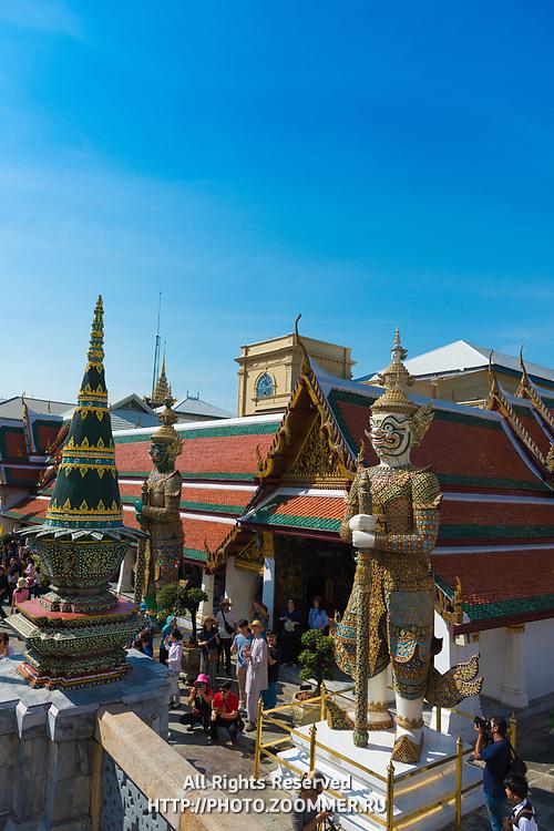 Statues in Wat Phra Kaew Temple of the Emerald Buddha, Grand Palace, Bangkok, Thailand