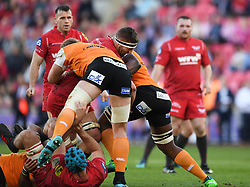 Scarlets John Barclay<br /> <br /> Photographer Mike Jones/Replay Images<br /> <br /> Guinness PRO14 Round 22 - Scarlets v Cheetahs - Saturday 5th May 2018 - Parc Y Scarlets - Llanelli<br /> <br /> World Copyright © Replay Images . All rights reserved. info@replayimages.co.uk - http://replayimages.co.uk