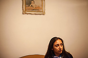 Portrait of 22 years old Roma student Cornelia Budrega in the house of her parents. She is is studying Commercial Business Administration in a Master Degree Program in Bucharest and never experienced any kind of discrimination because of being a Roma.