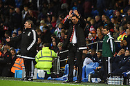 Wales manager Chris Coleman claps the Wales fans from the touchline. Vauxhall International football friendly, Wales v The Netherlands at the Cardiff city stadium in Cardiff, South Wales on Friday 13th November 2015. pic by Andrew Orchard, Andrew Orchard sports photography.