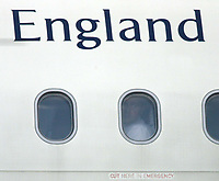 Photo: Chris Ratcliffe.<br />England arrival at Baden Airpot. 05/06/2006.<br />Steven Gerrard peers out of the window as England land at Baden Baden.