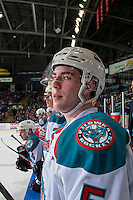 KELOWNA, CANADA - FEBRUARY 10: Konrad Belcourt #5 of the Kelowna Rockets stands on the bench against the Vancouver Giants on February 10, 2017 at Prospera Place in Kelowna, British Columbia, Canada.  (Photo by Marissa Baecker/Shoot the Breeze)  *** Local Caption ***