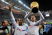FOOTBALL - FRENCH LEAGUE CUP 2010/2011 - FINAL - OLYMPIQUE MARSEILLE v MONTPELLIER HSC - 23/04/2014 - PHOTO GUY JEFFROY / DPPI - CELEBRATION FABRICE ABRIEL / ANDRE PIERRE GIGNAC (OM)