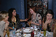 Nathalie Press, Lily Cole and Nargess Gharani. 'Pret-a-Portea'M.A.C. launches High Tea collection with British fashion designers. Berkeley Hotel. 17 January 2004. ONE TIME USE ONLY - DO NOT ARCHIVE  © Copyright Photograph by Dafydd Jones 66 Stockwell Park Rd. London SW9 0DA Tel 020 7733 0108 www.dafjones.com