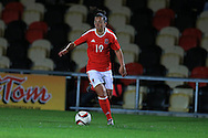 Bethan Lloyd of Wales in action. Friendly International Womens football, Wales Women v Republic of Ireland Women at Rodney Parade in Newport, South Wales on Friday 19th August 2016.<br /> pic by Andrew Orchard, Andrew Orchard sports photography.
