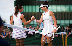 July 1, 2019 - London, GREAT BRITAIN - Daria Kasatkina of Russia & Ajla Tomljanovic of Australia at the net after their first-round match at the 2019 Wimbledon Championships Grand Slam Tennis Tournament (Credit Image: © AFP7 via ZUMA Wire)