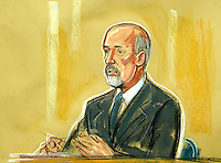 ©PRISCILLA COLEMAN (ITV) 02.09.03.ARTWORK SHOWS: BARNEY LEITH AT THE HIGH COURT TODAY, WHERE HE APPEARED AS A WITNESS IN THE HUTTON INQUIRY INTO THE DEATH OF DR DAVID KELLY..ARTWORK BY: PRISCILLA COLEMAN (ITV)