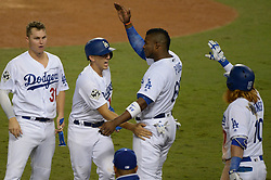 October 31, 2017 - Los Angeles, California, United States - Dodgers AUSTIN BARNES , #15, scores during the 6th inning in Game 6 of the World Series at Dodger Stadium Tuesday. (Credit Image: © David Crane/Los Angeles Daily News via ZUMA Wire)