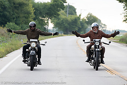 Alan Stulberg (L) of Revival Cycles and Paul d'Orleans of the Vintagent riding 1925 Brough Superiors out of Bourbonnais on the Motorcycle Cannonball coast to coast vintage run. Stage 6 (260 miles) from Bourbonnais, IL to Cedar Rapids, IA. Thursday September 13, 2018. Photography ©2018 Michael Lichter.