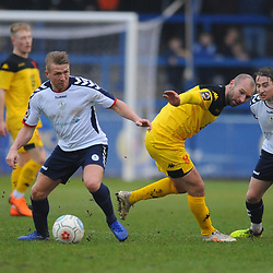 TELFORD COPYRIGHT MIKE SHERIDAN 19/1/2019 - Darryl Knights of AFC Telford and James McQuilkin of AFC Telford during the Vanarama Conference North fixture between AFC Telford United and Kidderminster Harriers