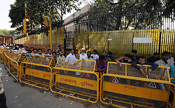 November 12, 2016 - Jaipur, Rajasthan, India - Indian people  stands in a queue  to deposit and exchange discontinued Rs 500,1000 currency notes outside a bank in Jaipur, India, Saturday, Nov. 12, 2016. Long queues have grown longer, scuffles have broken out and chaotic scenes are being seen across India as millions of people waited to change old currency notes that have become worthless after the government's demonetized high value bills. (Photo By Vishal Bhatnagar/NurPhoto) (Credit Image: © Vishal Bhatnagar/NurPhoto via ZUMA Press)