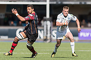 Gareth Anscombe (R)  of the Cardiff Blues turns to go past Taulupe Faletau (L) of the Newport Gwent Dragons .Guinness Pro12 rugby match, Cardiff Blues v Newport Gwent Dragons at the Cardiff Arms Park in Cardiff, South Wales on Sunday 17th April 2016.<br /> pic by Simon Latham, Andrew Orchard sports photography.