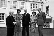 22/08/1963<br /> 08/22/1963<br /> 22 August 1963<br /> Mr Frank Aiken and family with President de Valera at Áras an Uachtaráin. Image shows Sile de Valera; Aedamar Aiken, President Eamon de Valera; Maud Aiken and Frank Aiken.