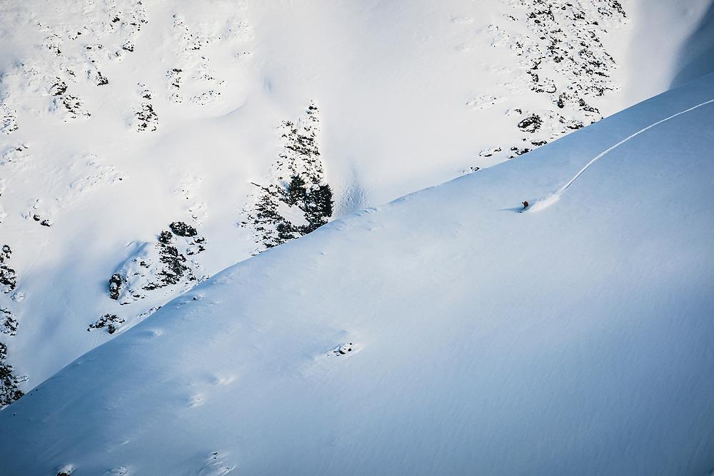 Ahmet Dadali heads off piste at Karakol Ski Area - Day 2 2020 Silk Road Freeride Competition Karakol.