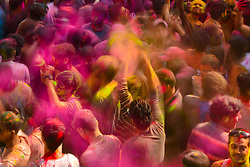 March 21, 2019 - Pushkar, Rajasthan, India - Foreign tourist celebrates Holi with Pushkar local people. Holi is the festival of love or colors that signifies the victory of superior over immoral, Holi is very popular festival of Hindu community, Hindu community throwing colors to each other to celebrate their religious festival Holi, the Spring Festival of Colors. (Credit Image: © Shaukat Ahmed/Pacific Press via ZUMA Wire)