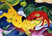 Cows, red, green, yellow; 1912 by Franz Marc (February 8, 1880 – March 4, 1916) was one of the principal painters and printmakers of the German Expressionist movement
