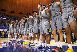 Jan 14, 2020; Morgantown, West Virginia, USA; West Virginia Mountaineers players celebrate after beating the TCU Horned Frogs at WVU Coliseum. Mandatory Credit: Ben Queen-USA TODAY Sports
