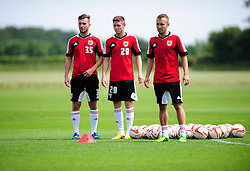 Bristol City's Mitch Brundle, Wes Burns and Liam Kelly - Photo mandatory by-line: Dougie Allward/JMP - Tel: Mobile: 07966 386802 28/06/2013 - SPORT - FOOTBALL - Bristol -  Bristol City - Pre Season Training - Npower League One