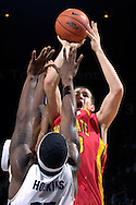 Iowa State center Jiri Hubalek (33) puts up a shot over Kansas State's David Hoskins in the first half at Bramlage Coliseum in Manhattan, Kansas, February 17, 2007.  The Wildcats lead the Cyclones at halftime 22-20.