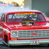 Clive Hudson driving his Chevy C10 Supercharged Outlaw at the Perth Motorplex's Top Fuel Challenge in November 2005