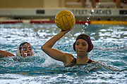 Women's water polo captain Caitlin Short '12 rises out of the water to make a pass during the Black Sheep's recent match versus Augustana College. BEN BREWER/Grinnell College
