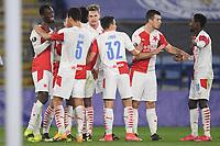 Football - 2020 / 2021 Europa League - Round of 32 - Second Leg - Leicester City vs Slavia Prague - King Power Stadium<br /> <br /> Slavia Prague's Abdallah Sima (left) celebrates scoring his side's second goal.<br /> <br /> COLORSPORT/ASHLEY WESTERN
