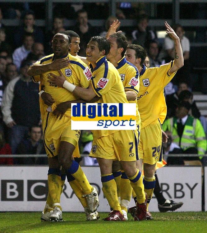 Photo: Paul Thomas.<br /> Derby County v Southampton. Coca Cola Championship. Play Off Semi Final, 2nd Leg. 15/05/2007.<br /> <br /> Jhon Viafana (23) and Southampton celebrates his goal.