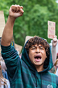 "An activist shouts ""Black Lives Matter"" as the mass gathered protestors in Marble Arch, Central London, on Sunday, July 19, 2020 - march towards the US Embassy throughout Hyde Park. The Black Lives Matter movement invited people to continue the eighth weekend of anti-racism protests in Britain.(VXP Photo/ Vudi Xhymshiti)"