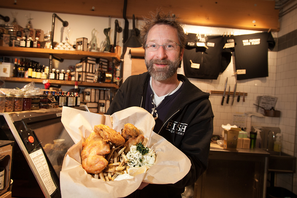 Salmon Fish and Chips with Fried Oysters, cole slaw and tartar at Fish Counter in Vancouver BC