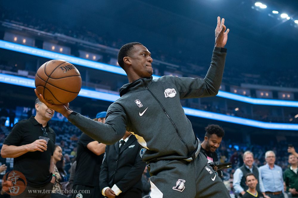 February 27, 2020; San Francisco, California, USA; Los Angeles Lakers guard Rajon Rondo (9) does a pre-game routine before the game against the Golden State Warriors at Chase Center.