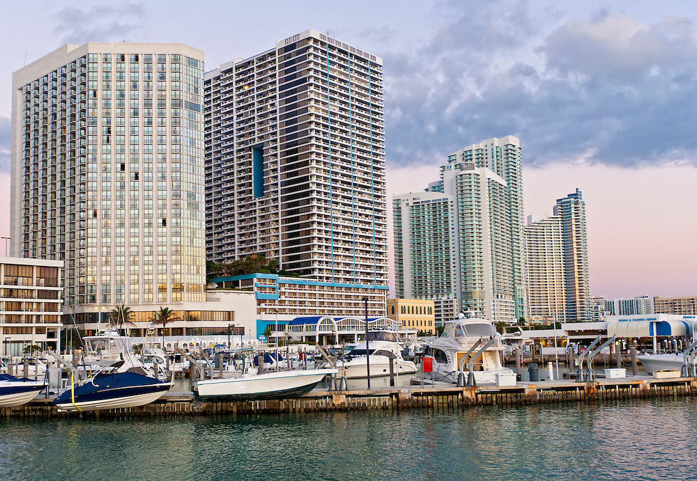 View of Downtown Miami from Biscayne Bay early morning.