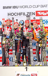 13.12.2014, Biathlonarena, Hochfilzen, AUT, E. ON IBU Weltcup, Staffel, Damen, im Bild Podium, v.l.: Siegerteam Deutschland, Luise Kummer (GER), Franziska Hildebrand (GER), Vanessa Hinz (GER), Franziska Preuss (GER) // during Womens Relay of E. ON IBU Biathlon World Cup at the Biathlonstadium in Hochfilzen, Austria on 2014/12/13. EXPA Pictures © 2014, PhotoCredit: EXPA/ JFK