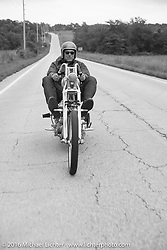 Bill Buckingham riding his 1923 Harley-Davidson J model custom chopper (that won top honors at Born Free 6) during Stage 6 of the Motorcycle Cannonball Cross-Country Endurance Run, which on this day ran from Cape Girardeau to Sedalia, MO., USA. Wednesday, September 10, 2014.  Photography ©2014 Michael Lichter.